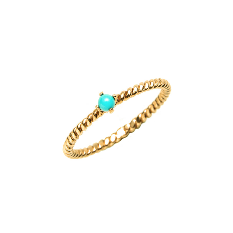 14k gold  Turquoise twist ring - LODAGOLD