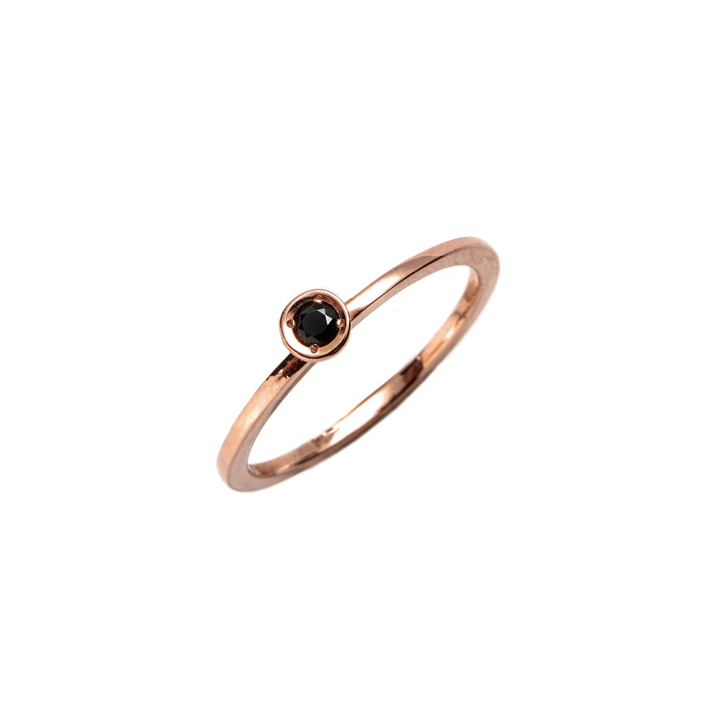 14k gold black diamond ring - LODAGOLD