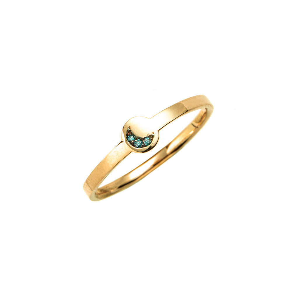 14k gold blue diamond moon ring - LODAGOLD