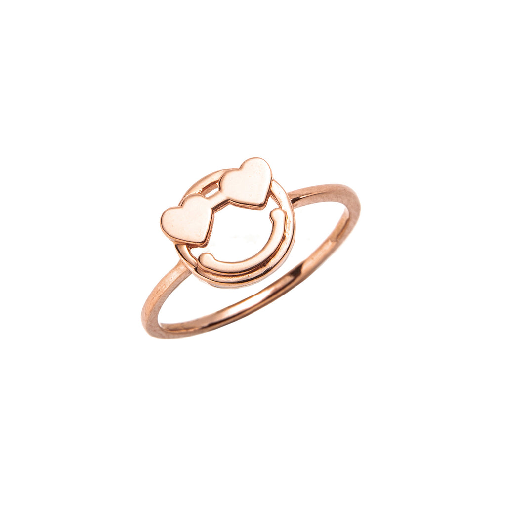 14k gold emoji Heart Ring - LODAGOLD