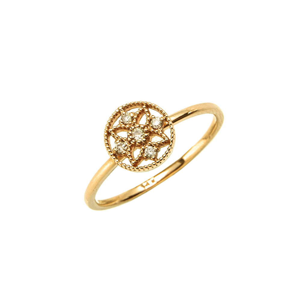 14k gold cognac diamond ring - LODAGOLD