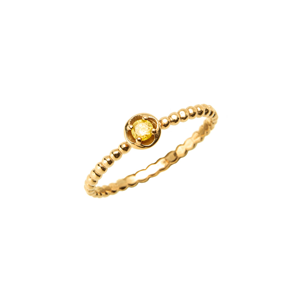 14k gold yellow ruf diamond Ring - LODAGOLD