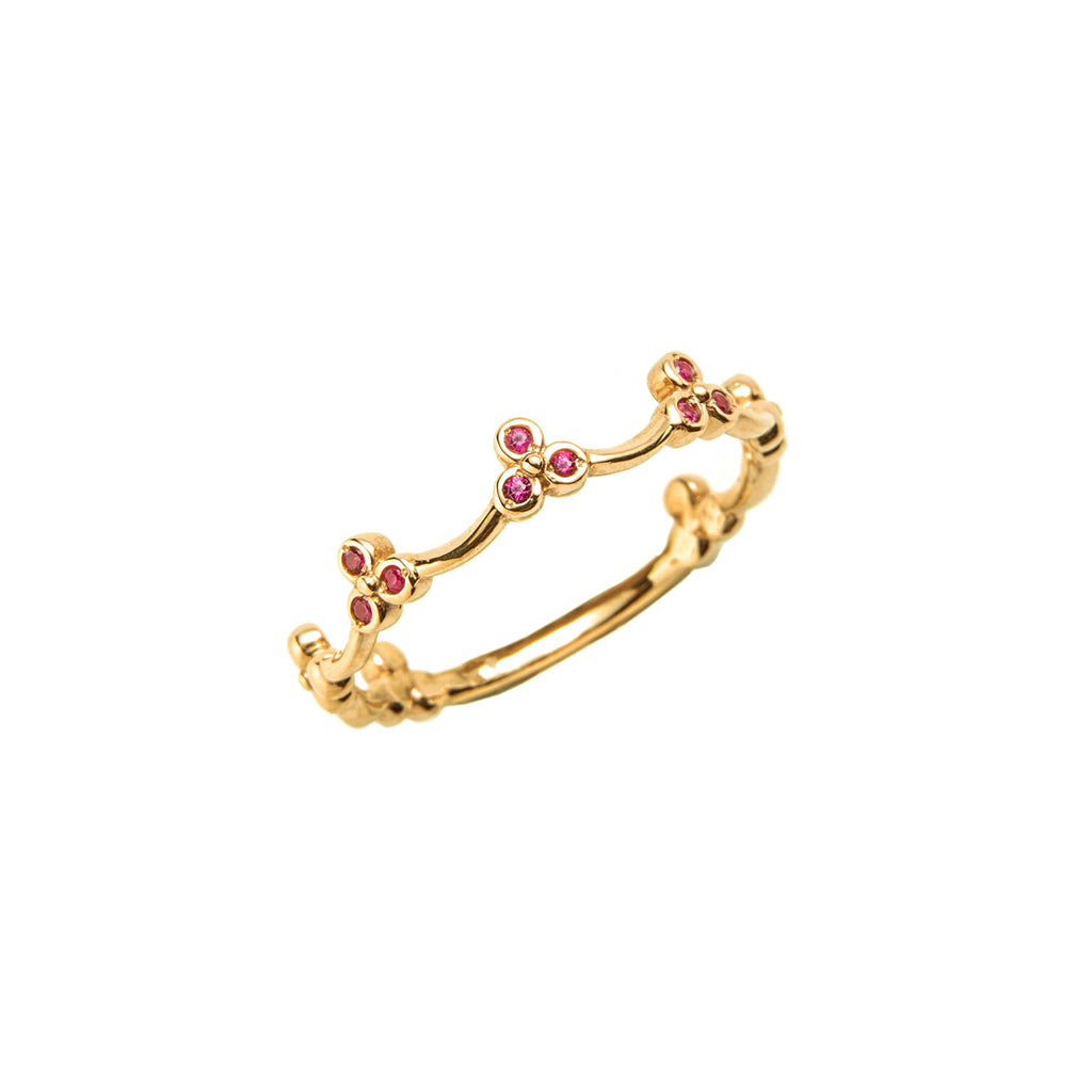 14k gold ruby crown ring - LODAGOLD