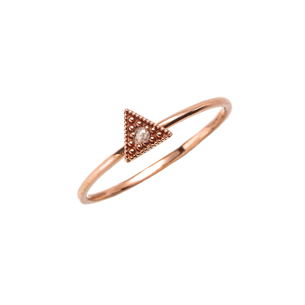 14k gold grey diamond Triangle ring - LODAGOLD