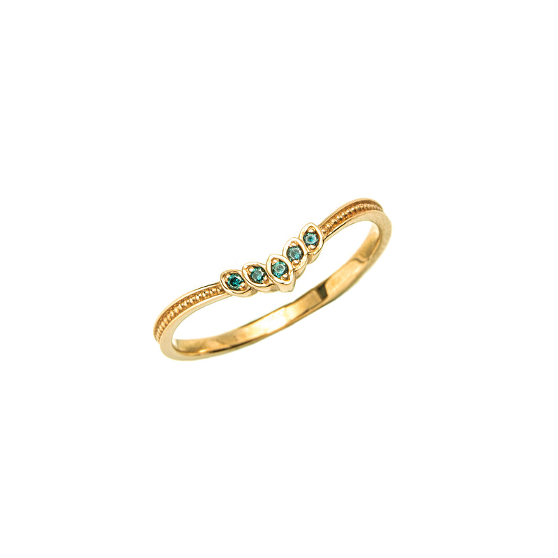 14k gold blue diamond angel Ring - LODAGOLD