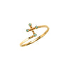 14k gold Blue diamond cross ring - LODAGOLD