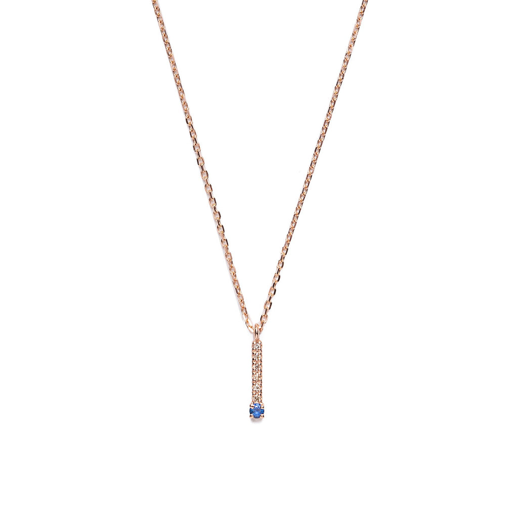 14k gold sapphire&diamond bar necklace - LODAGOLD