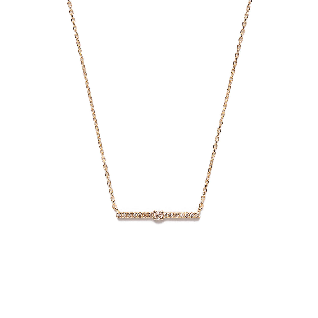 14k gold diamond bar necklace - LODAGOLD