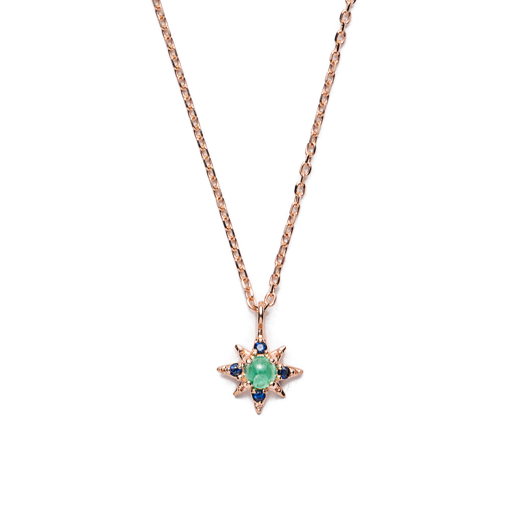 14k gold emerald starburst necklace - LODAGOLD