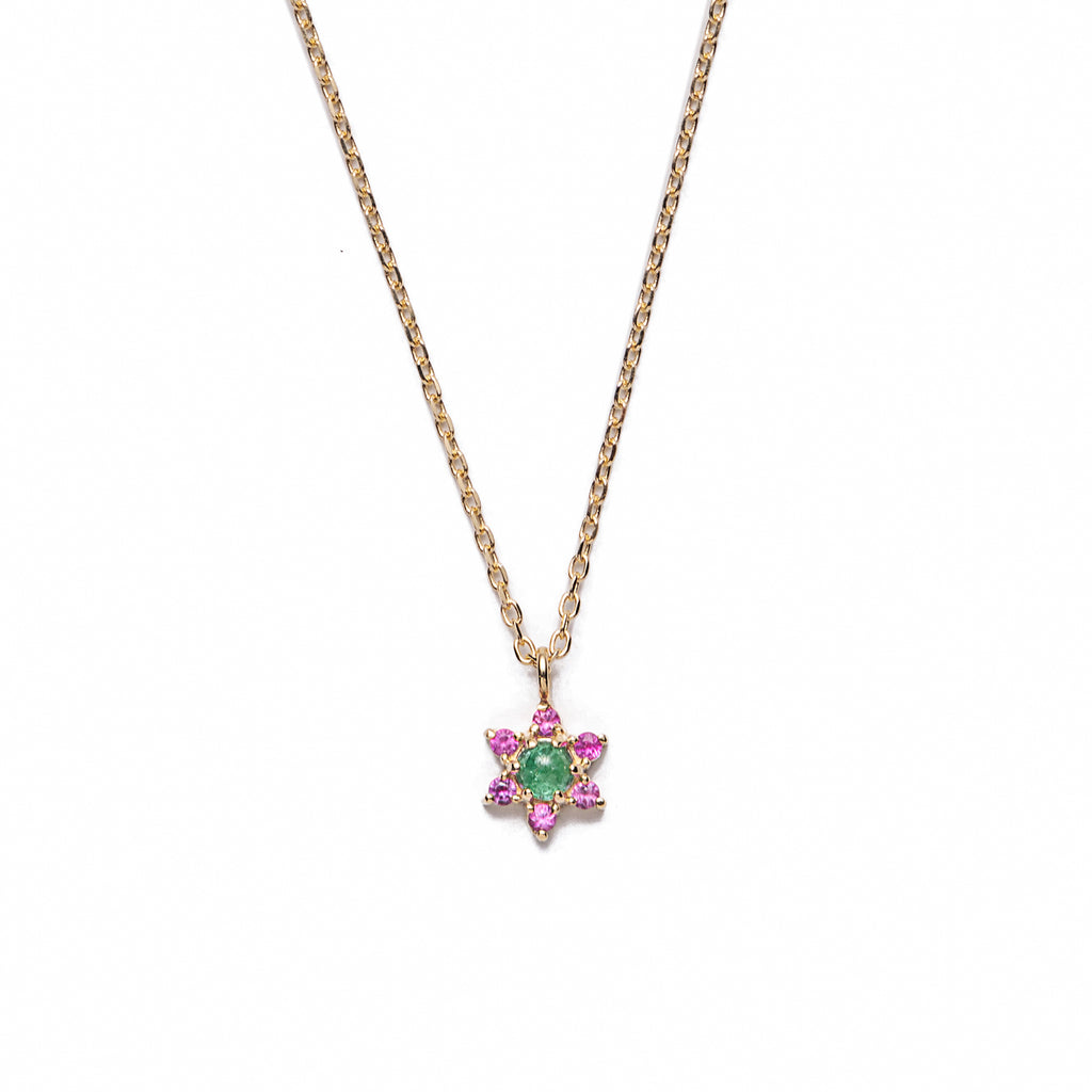14k gold emerald flower necklace - LODAGOLD