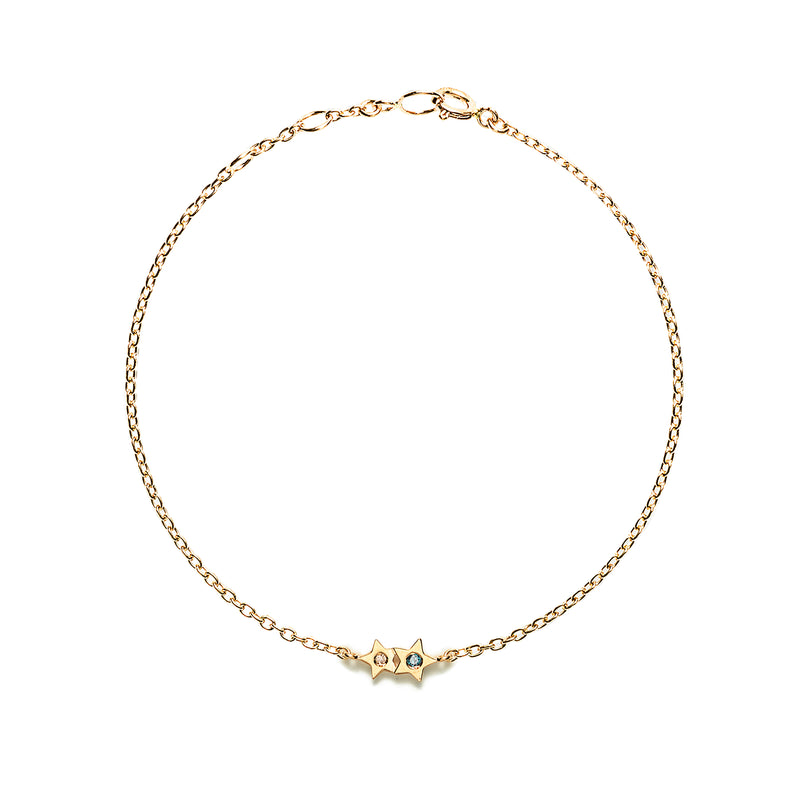 14k gold star diamond bracelet - LODAGOLD