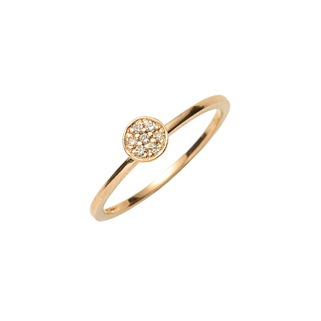 14k gold cognac diamond round ring - LODAGOLD