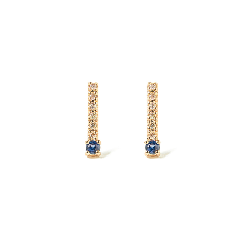 14k gold sapphire&diamonds bar earrings - LODAGOLD