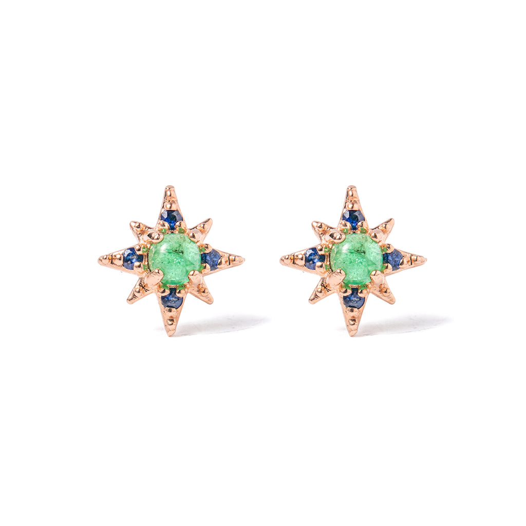 14k gold emerald starburst earrings - LODAGOLD