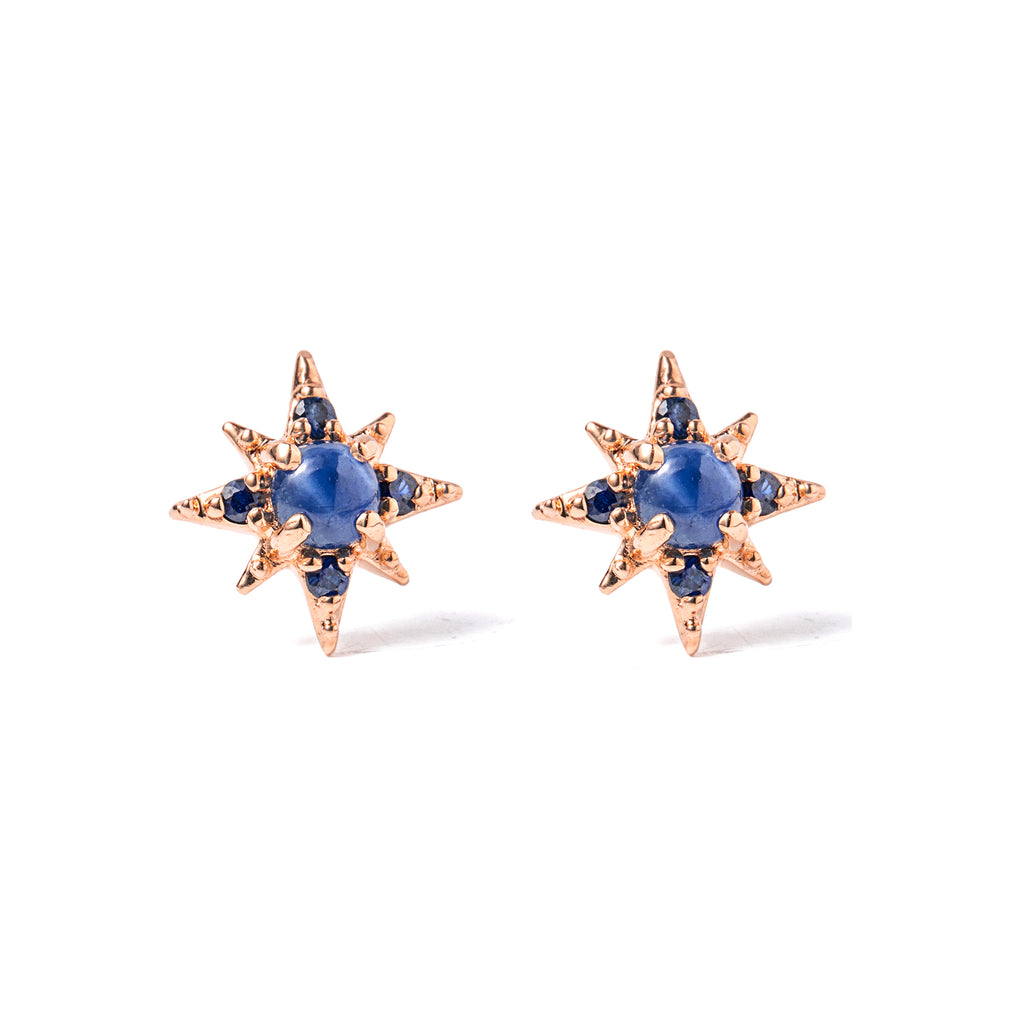 14k gold sapphire starburst earrings - LODAGOLD