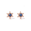 14k gold sapphire flower earrings - LODAGOLD