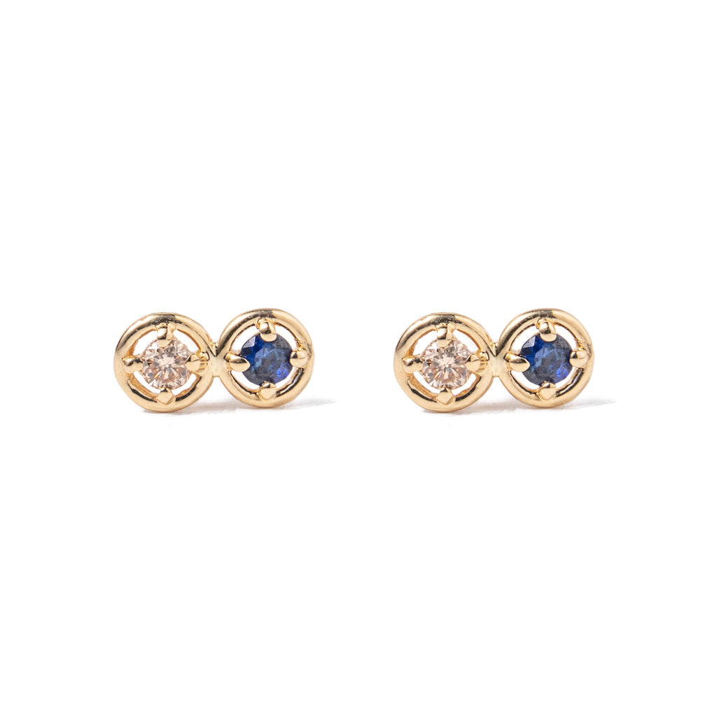 14k gold diamond&sapphire earrings - LODAGOLD