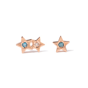14k gold star diamond stud earrings - LODAGOLD