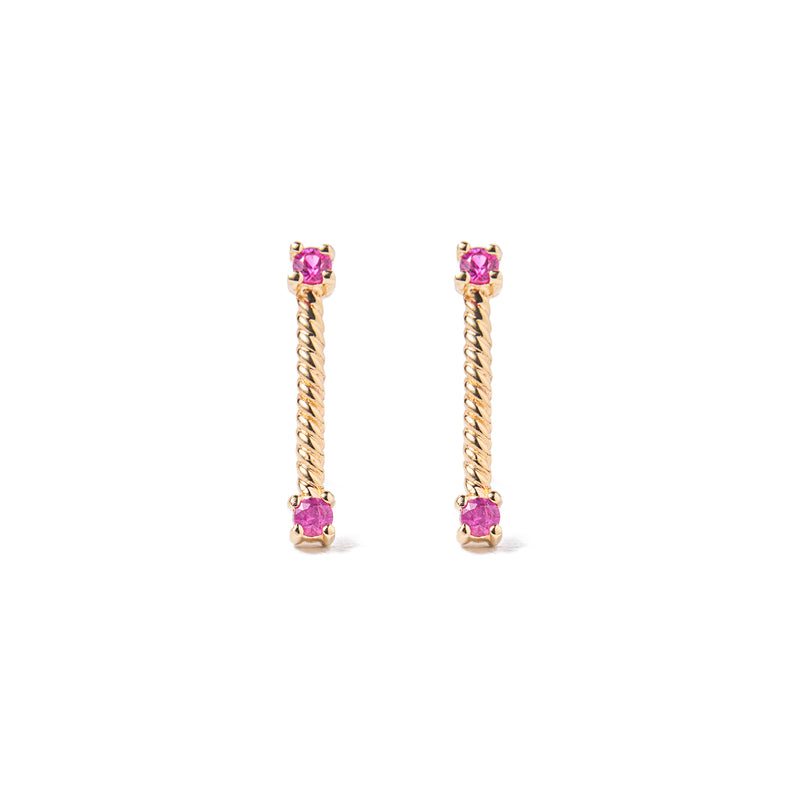 14k gold sapphire twist earrings - LODAGOLD
