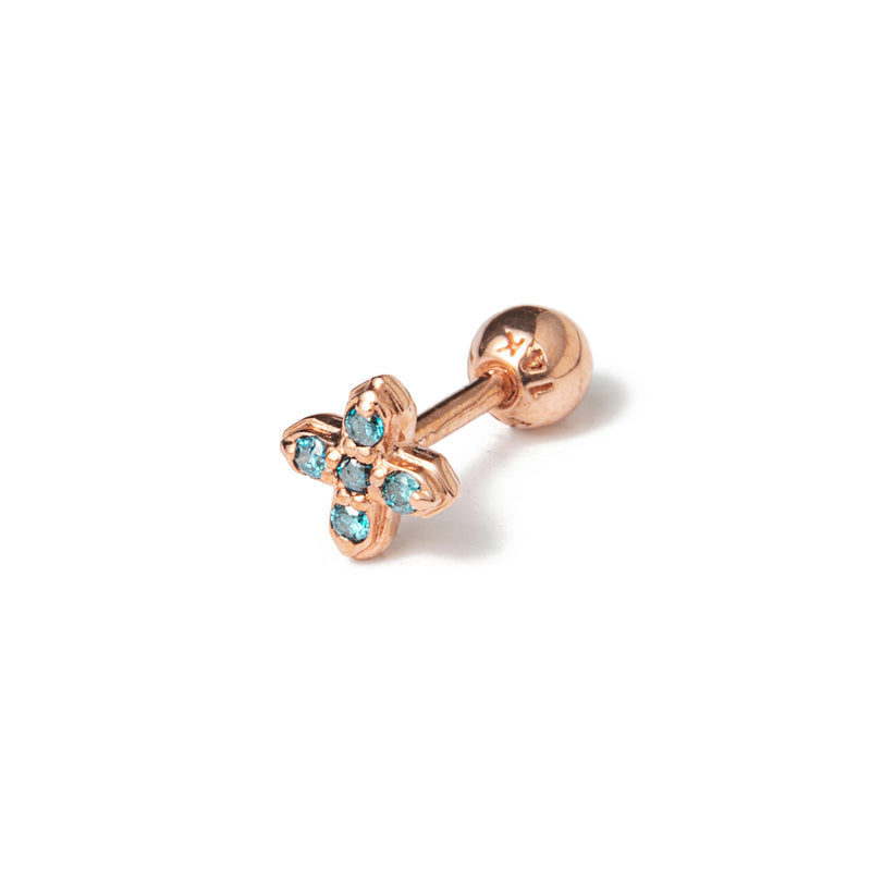 14k gold diamond T piercing - LODAGOLD