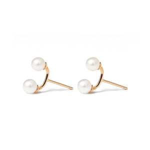 14k gold w/2 pearls stud earrings - LODAGOLD