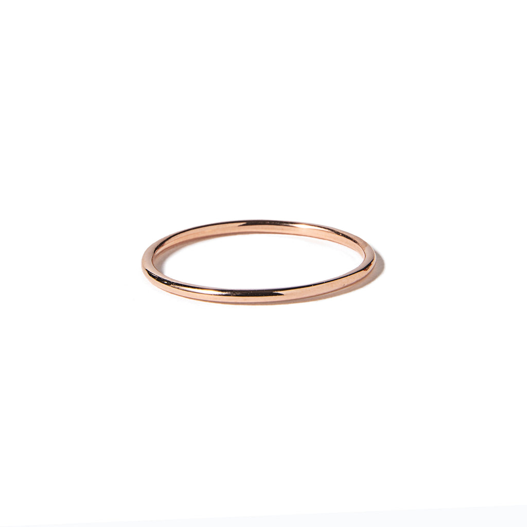 14k rose gold round wire ring - LODAGOLD