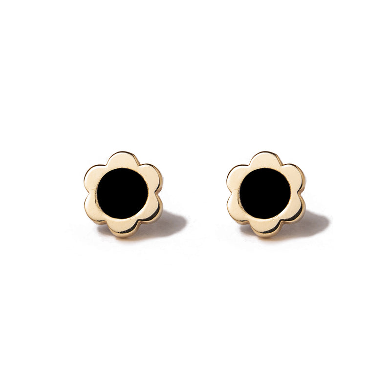 14k gold onyx flower earrings - LODAGOLD