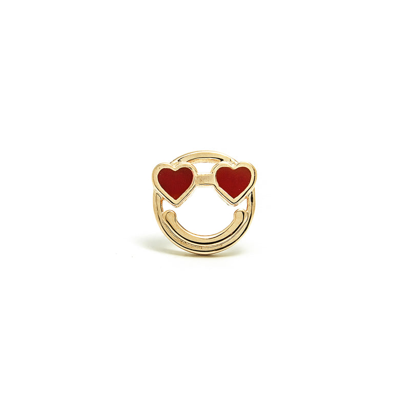 14k gold heart Emoji stud single earring - LODAGOLD