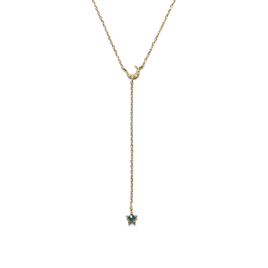 14k gold Blue&Grey Dia Lariat Moon&Star Necklace - LODAGOLD