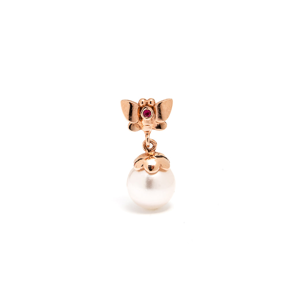 14k gold pearl&ruby butterfly drop single earring - LODAGOLD