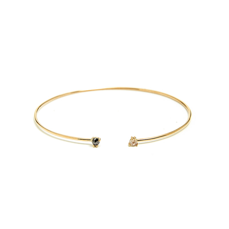 14k gold grey& black diamond Bangle - LODAGOLD