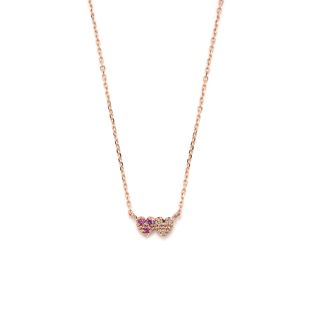 14k gold pink Sapphire&grey dia double heart Necklace - LODAGOLD