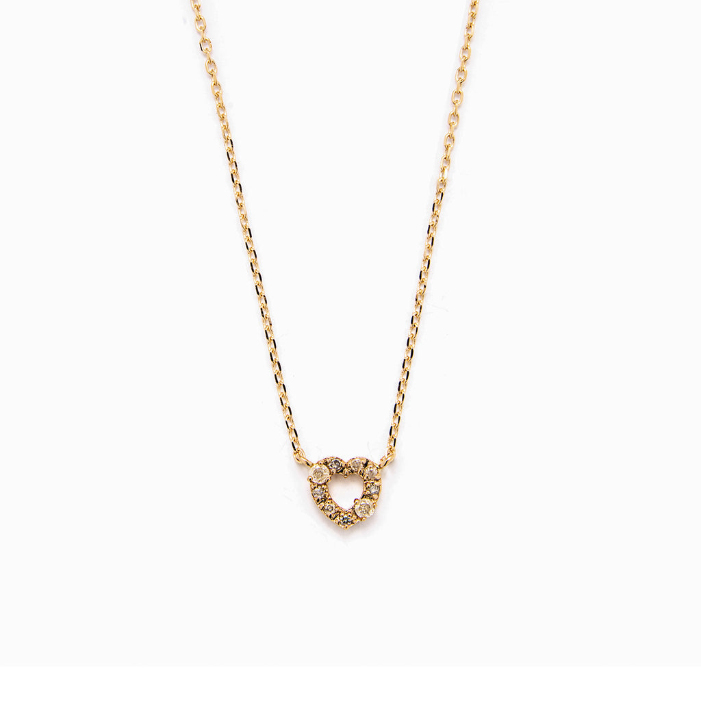 14k grey diamond heart Necklace - LODAGOLD