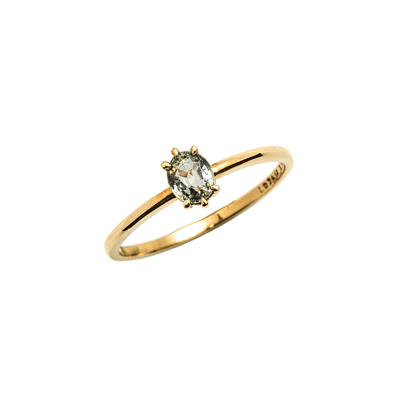 14k gold oval green sapphire ring - LODAGOLD