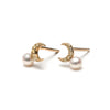 14k gold diamond moon stud earrings w.pearl - LODAGOLD