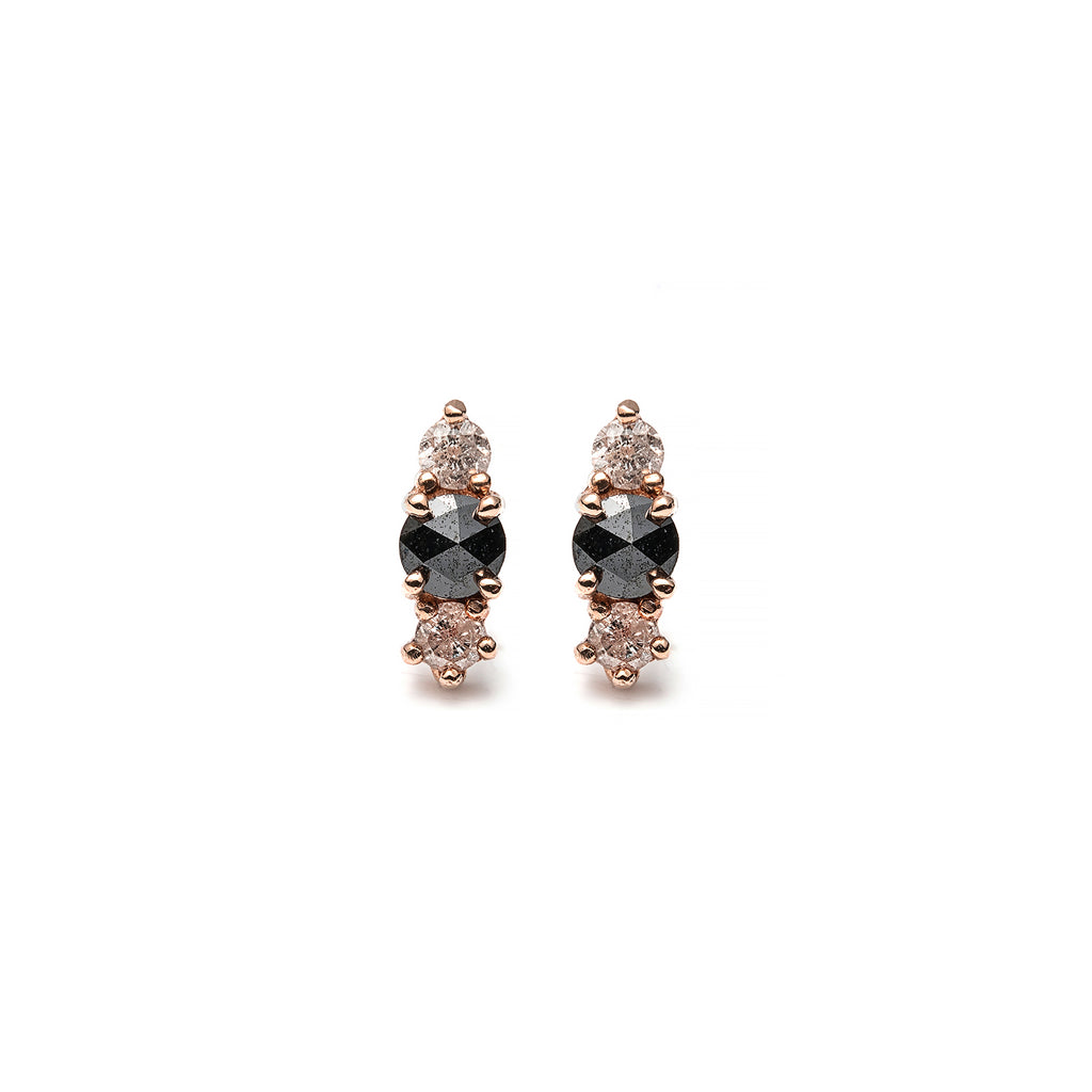 14k gold black ruf&grey dia stud earrings - LODAGOLD