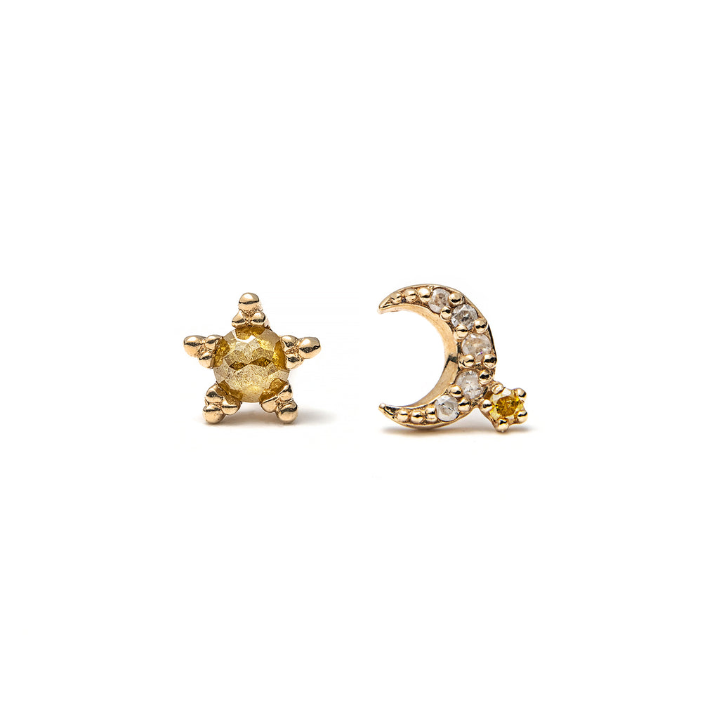 14k gold star&moon diamond stud earrings - LODAGOLD