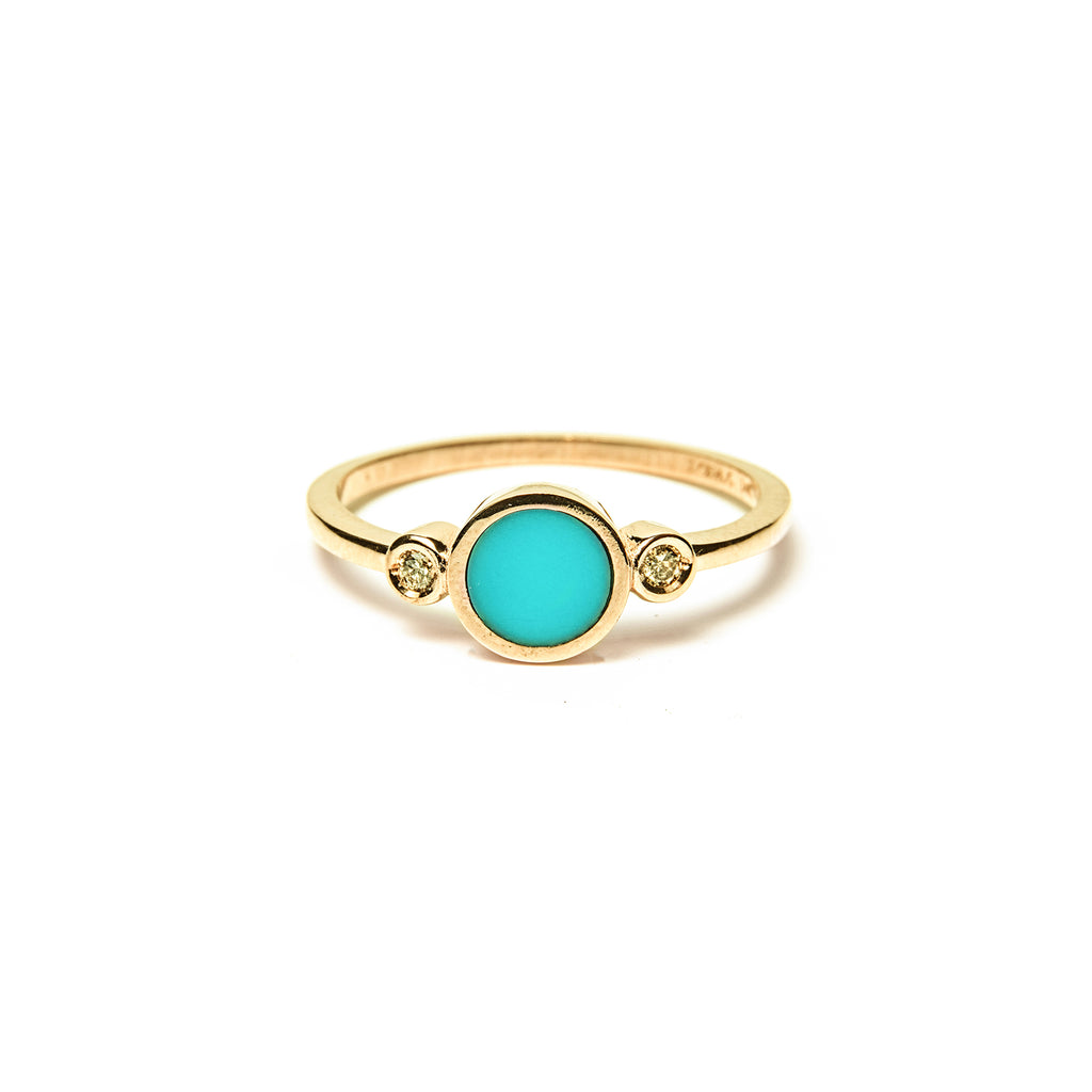 14k gold diamond&turquoise inlay ring - LODAGOLD