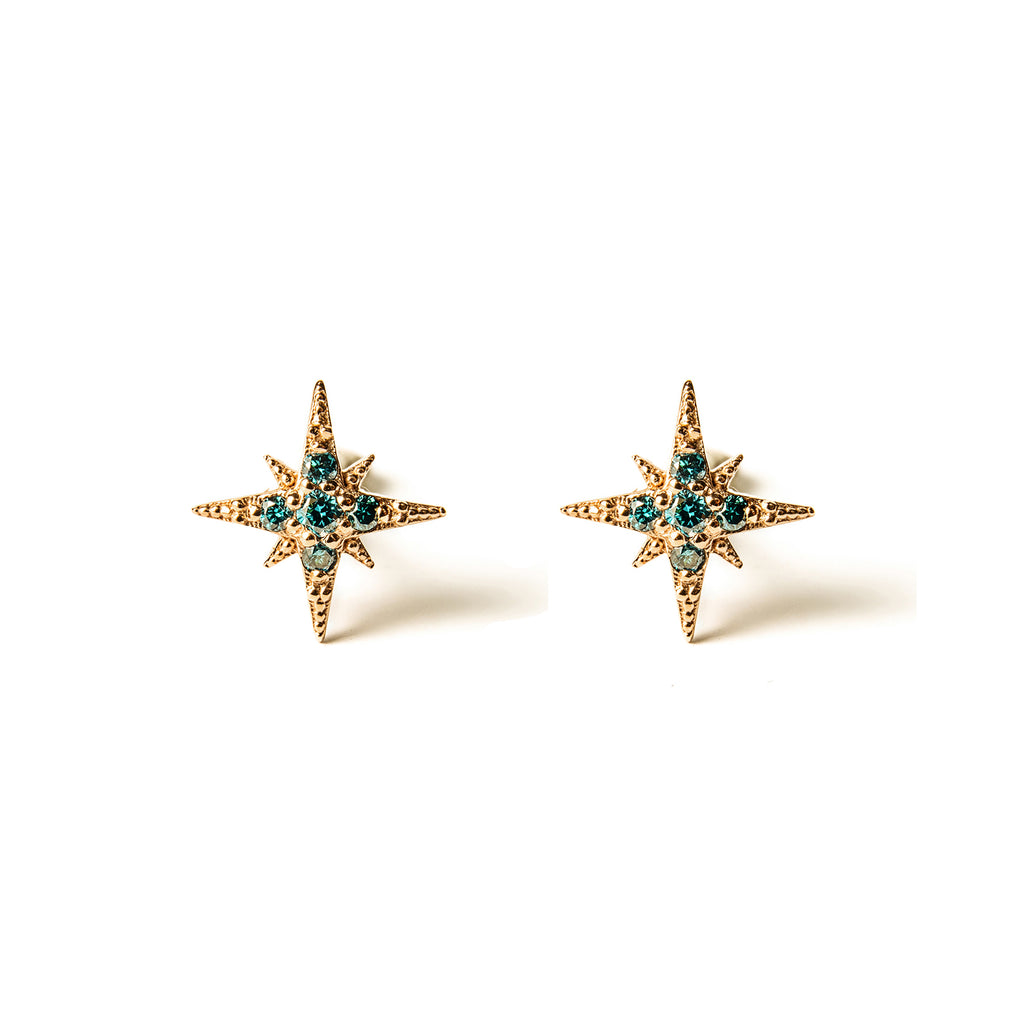 14k gold blue diamond Starburst Stud Earrings - LODAGOLD