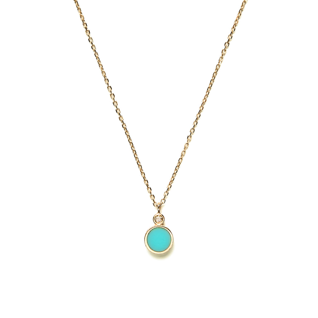 14k gold diamond&turquoise inlay necklace - LODAGOLD