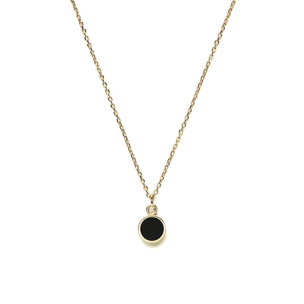 14k gold diamond&onyx inlay necklace - LODAGOLD