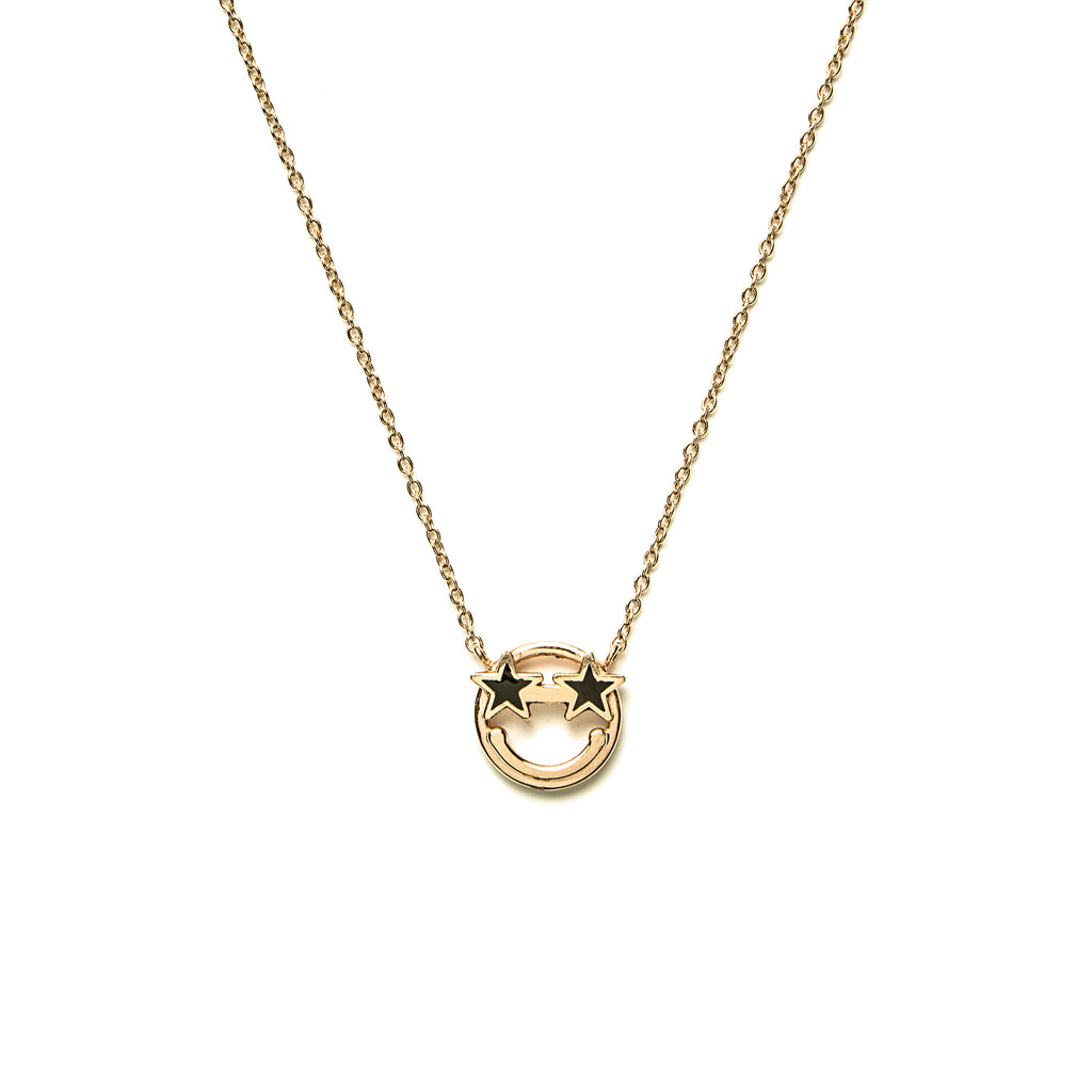 14k gold Emoji star black eyes Necklace - LODAGOLD