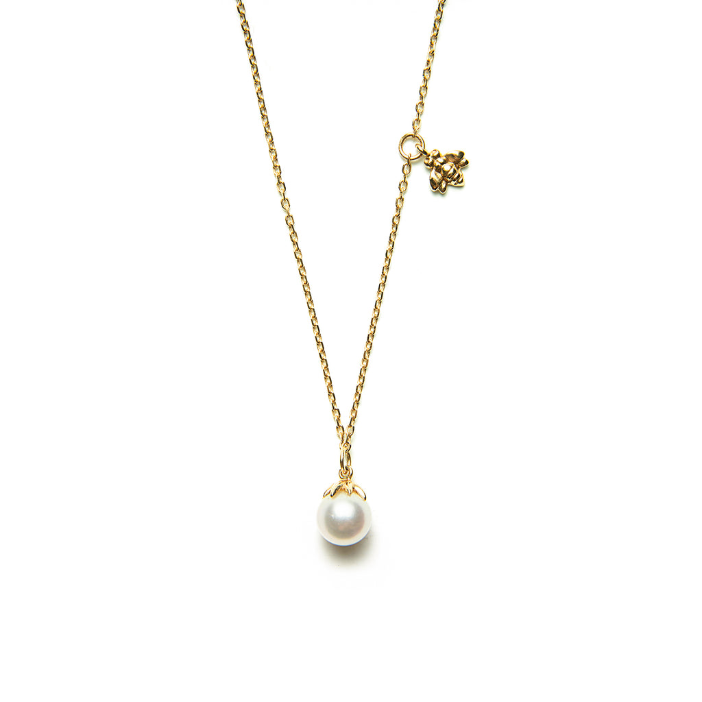 14k gold pearl bee Necklace - LODAGOLD