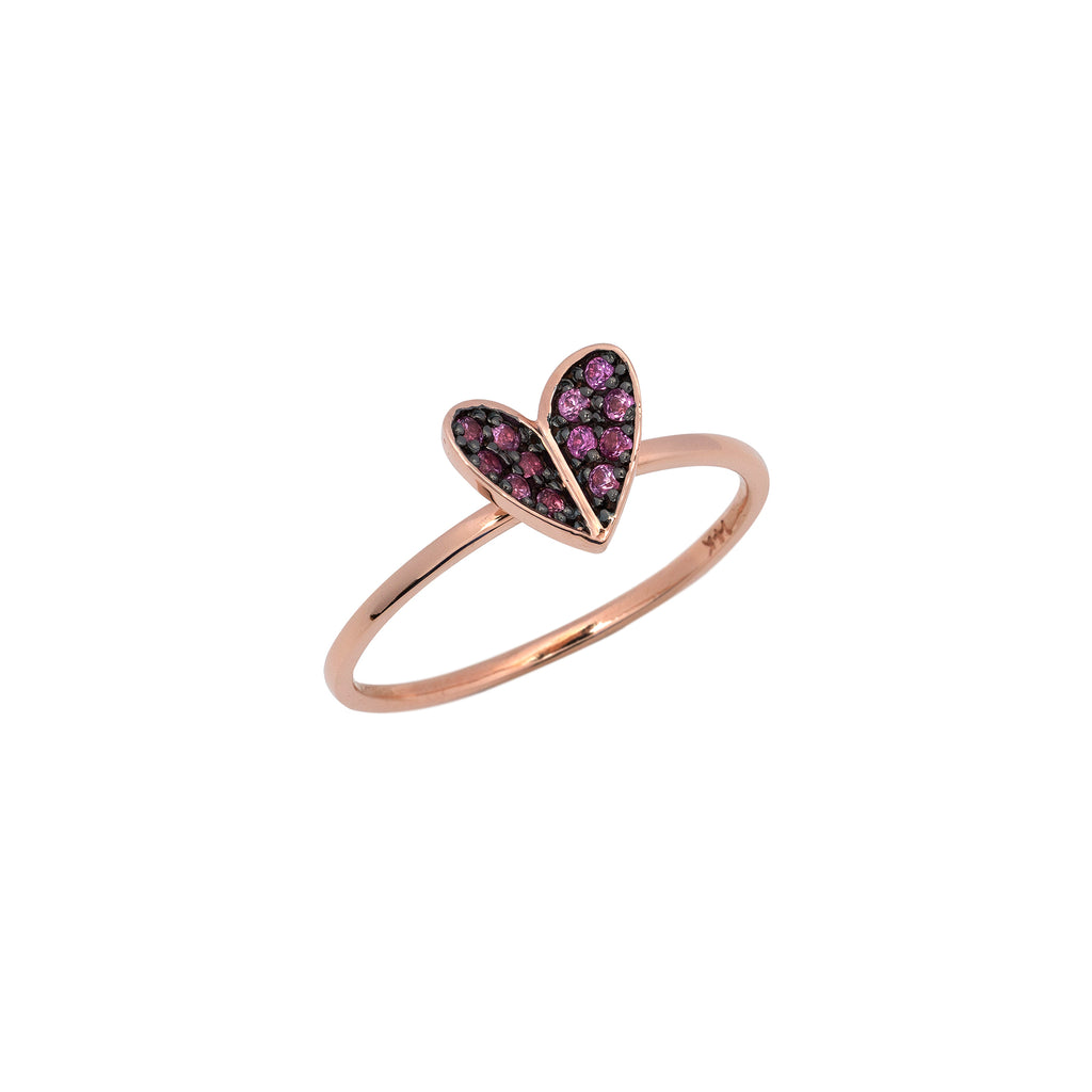 14k rose gold heart pink Sapphire ring - LODAGOLD