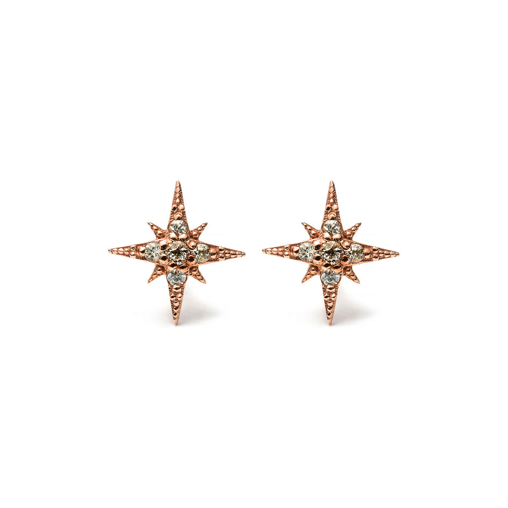 14k gold Green Sapphire Starburst Stud Earrings - LODAGOLD