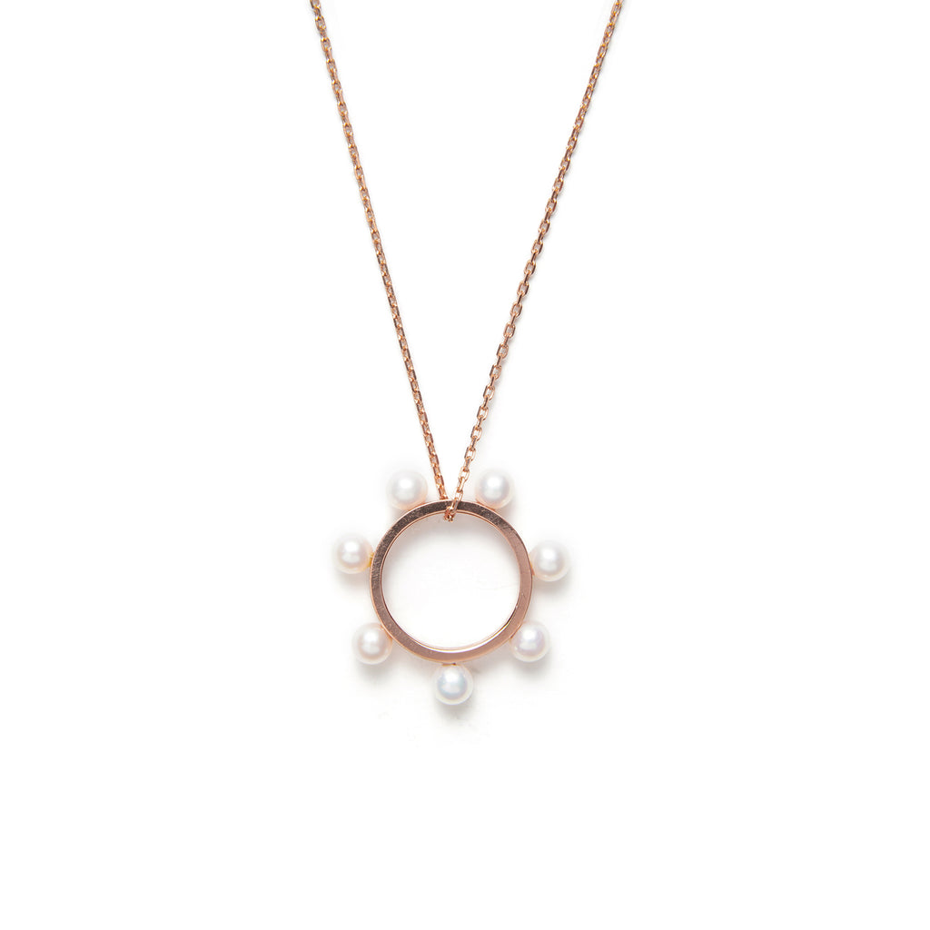 14k gold w/pearls circle necklace - LODAGOLD