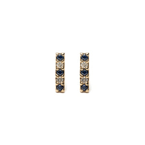 14k gold blue&white sapphire bar stud earrings - LODAGOLD