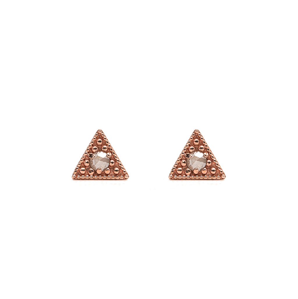 14k gold grey diamond Triangle Earrings - LODAGOLD