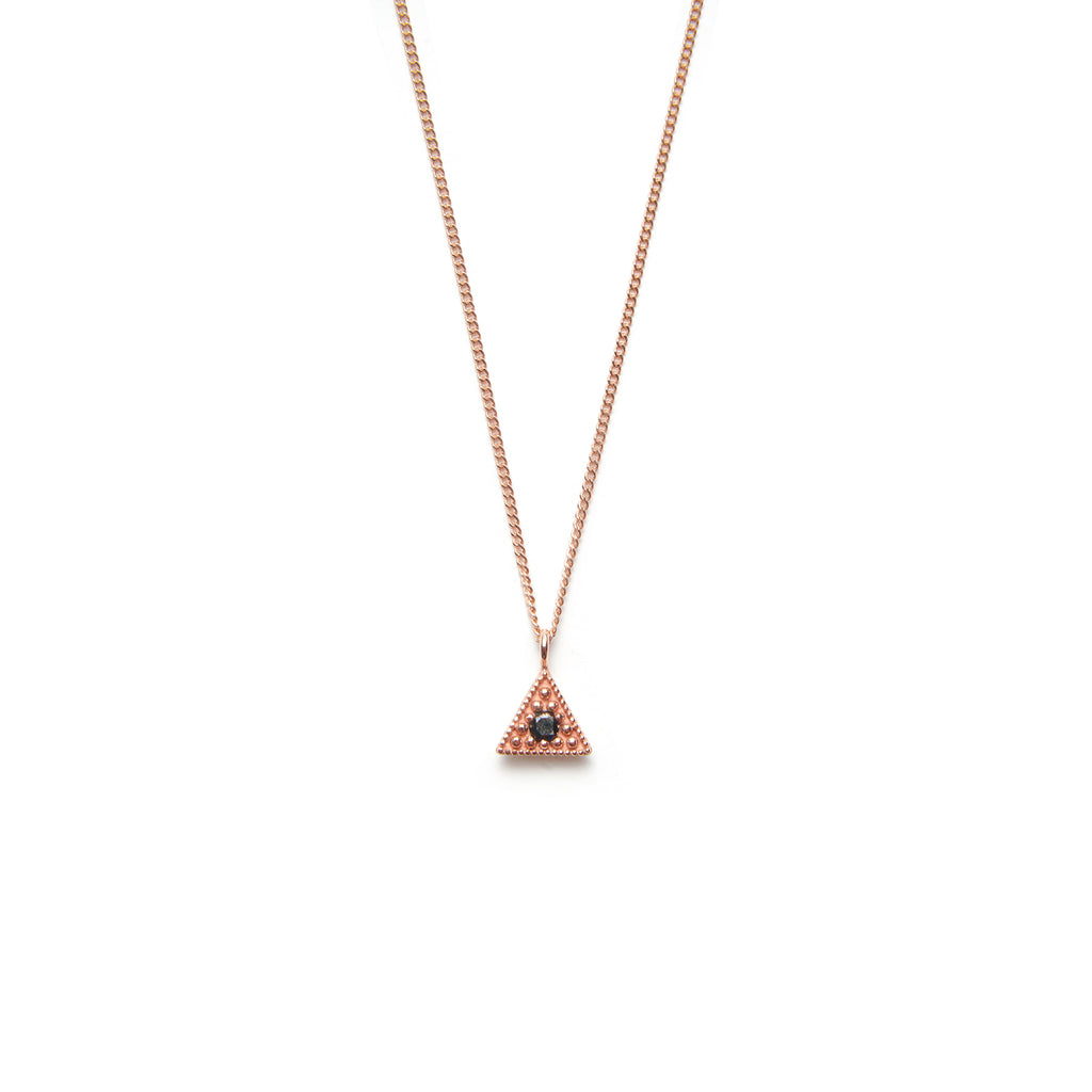 14k gold black diamond Triangle Necklace - LODAGOLD