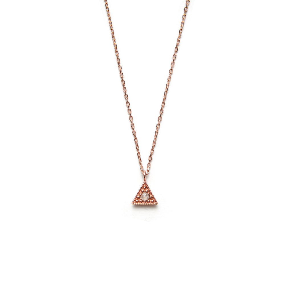 14k gold grey diamond Triangle Necklace - LODAGOLD